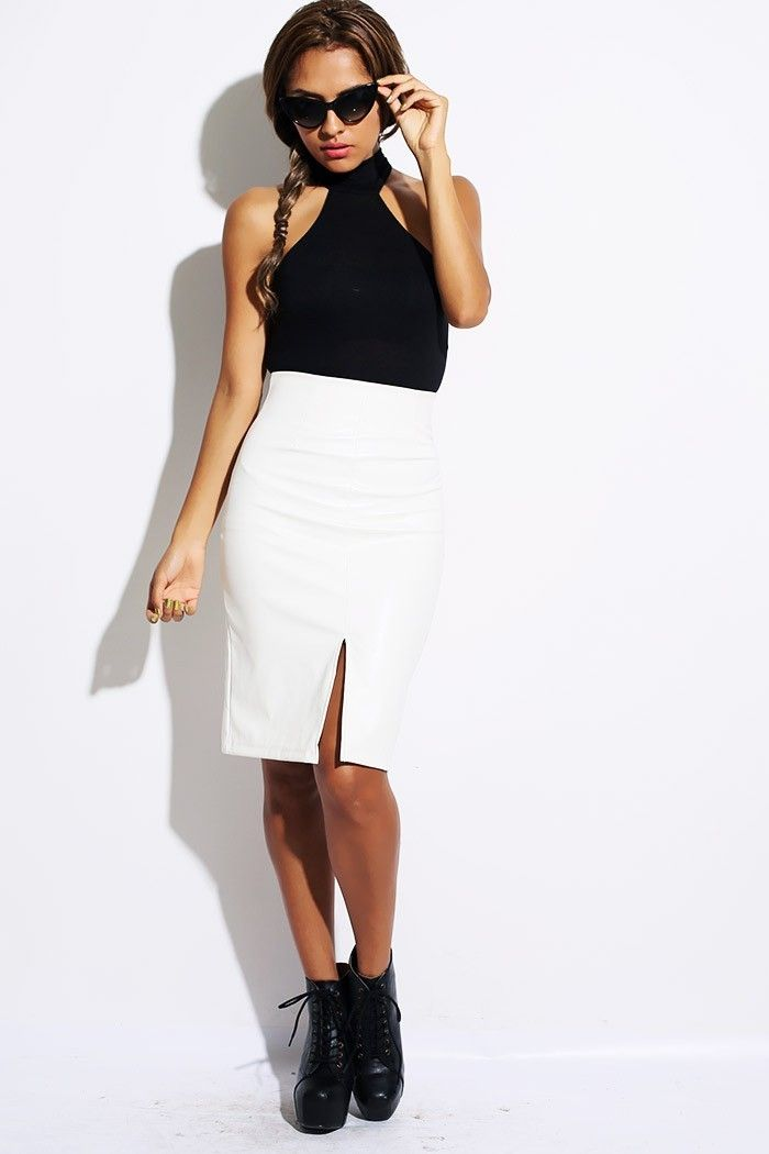 F3ROCE - White Faux Leather Pencil Skirt, $22.50 (http://www ...