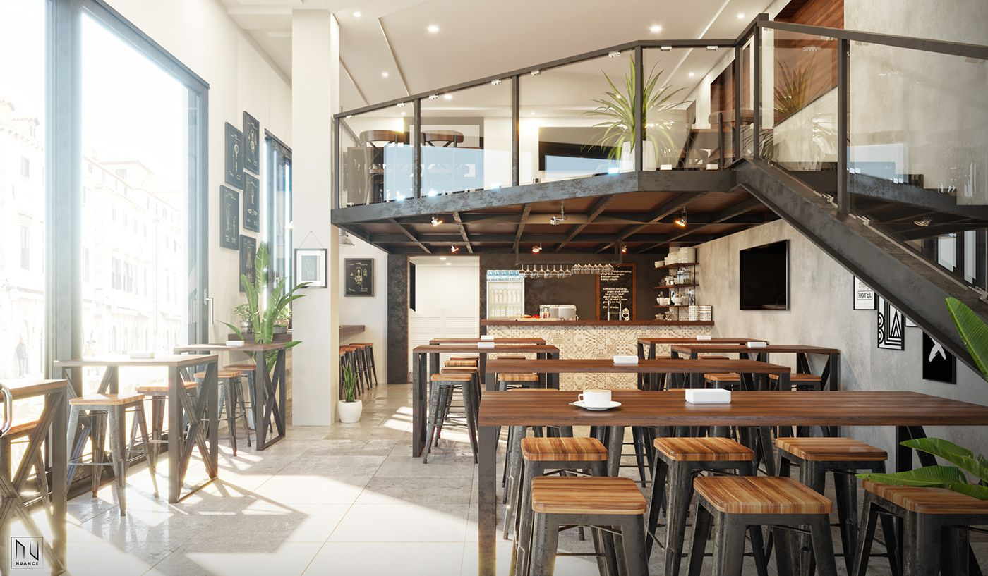 Coffee shop on Behance ArchiCAD Autodesk 3ds Max Corona Renderer