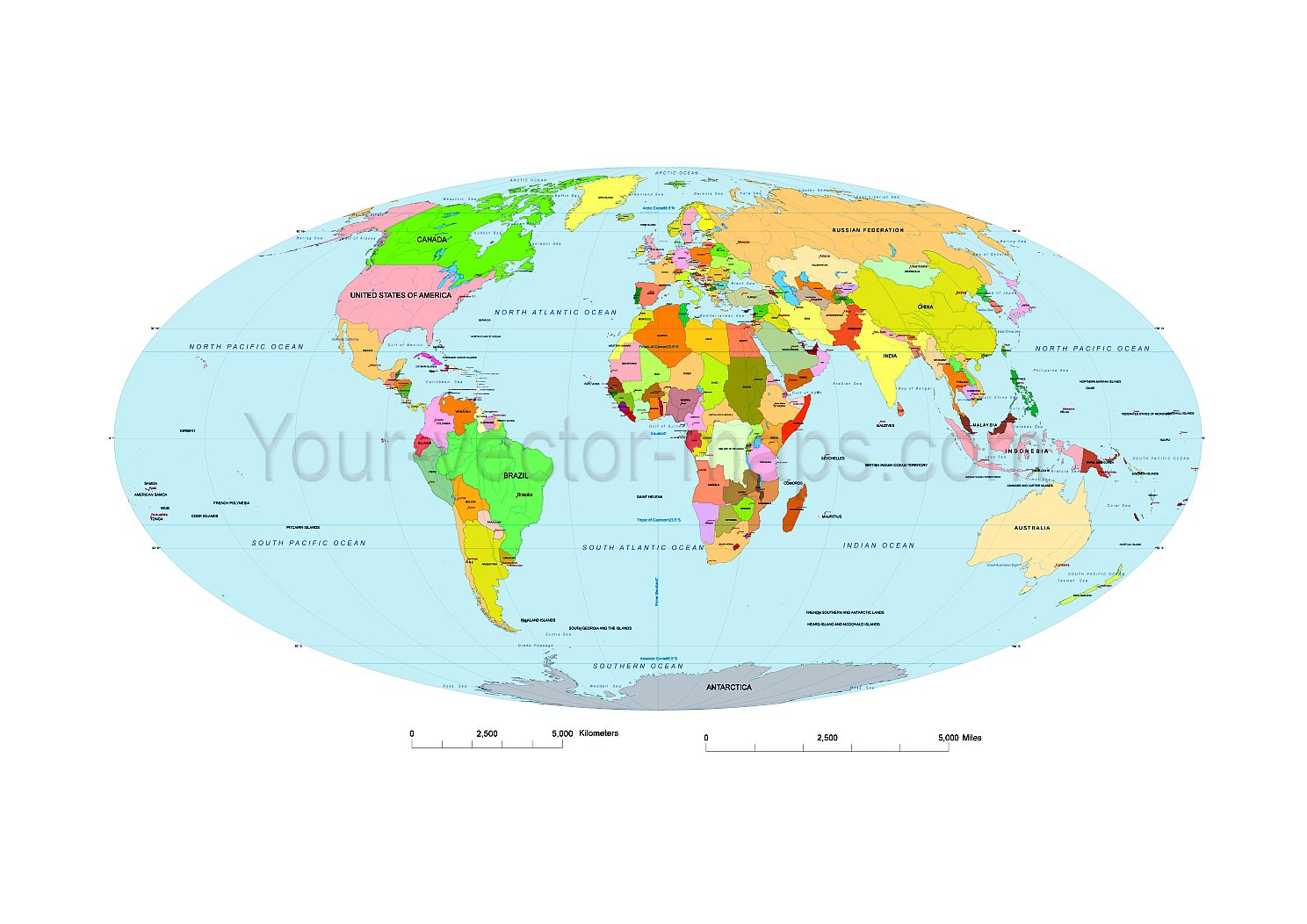 Oval world map. Mollweide projection.Country name, waterbody ...