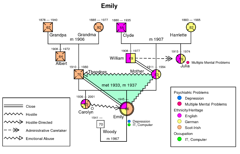 psychology genogram essay A genogram is a picture display of an individual's family relationships and medical history it helps a person visualize the heredity patterns that may.
