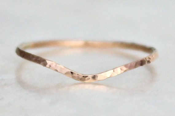 Curved Hammer Faceted Band of Sterling Silver  14kt by SSMDesign, $38.00