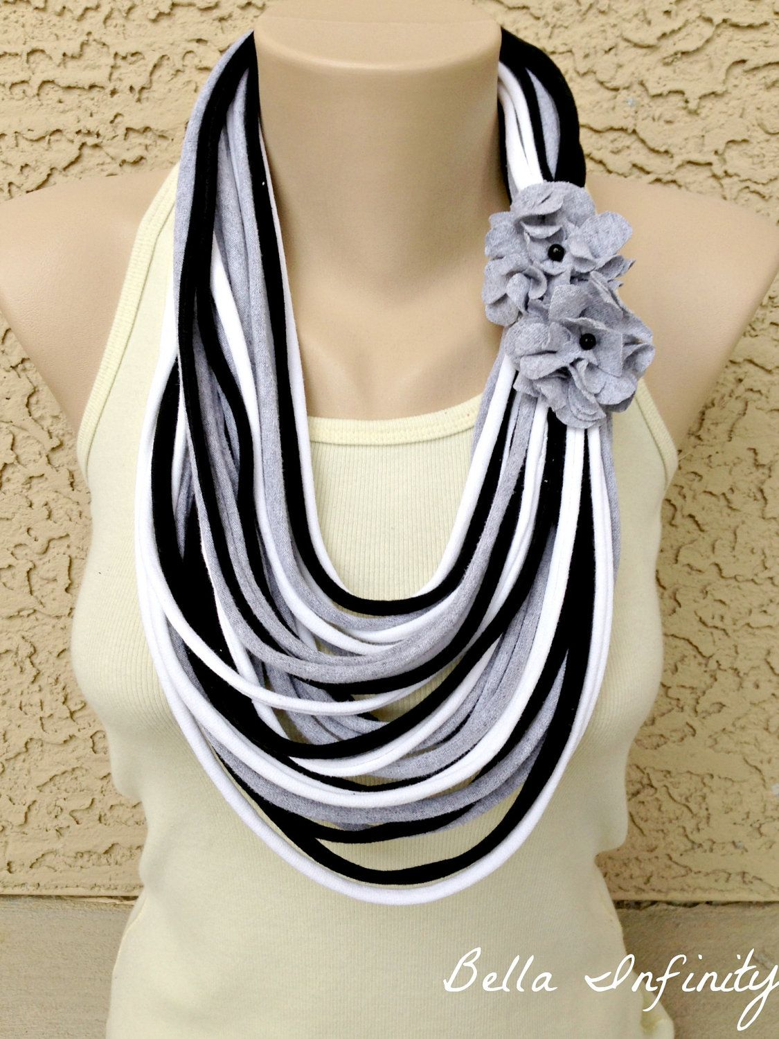 Bella Infinity Floral Scarf Flowers Black Grey White Up-Cycled ...