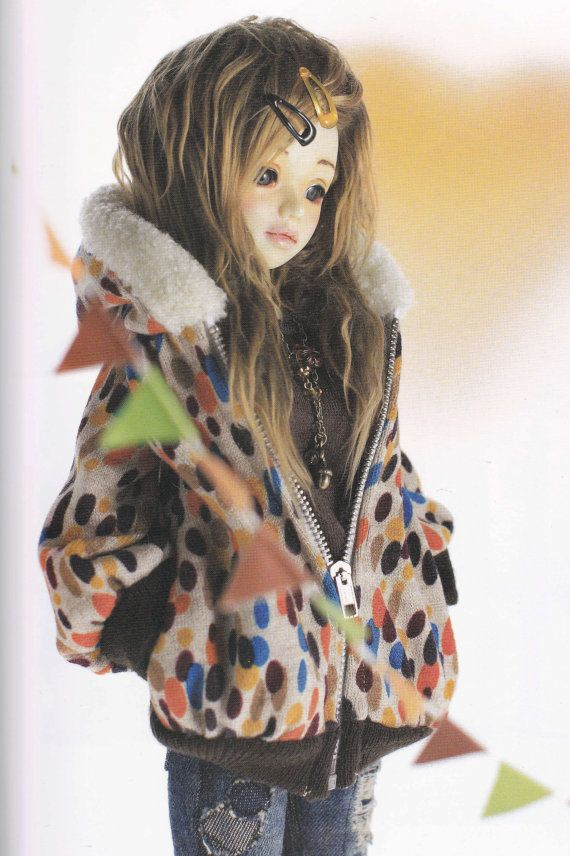 1/4 MSD BJD 40cm Doll Casual Hooded Jacket, Tank Top, Girly Tee, & Jeans set pdf Scaled E PATTERN in Japanese and Template Titles in English