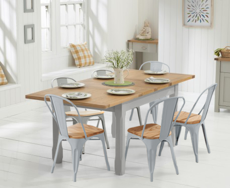 Somerset 130cm Oak And Grey Extending Dining Table With Tolix