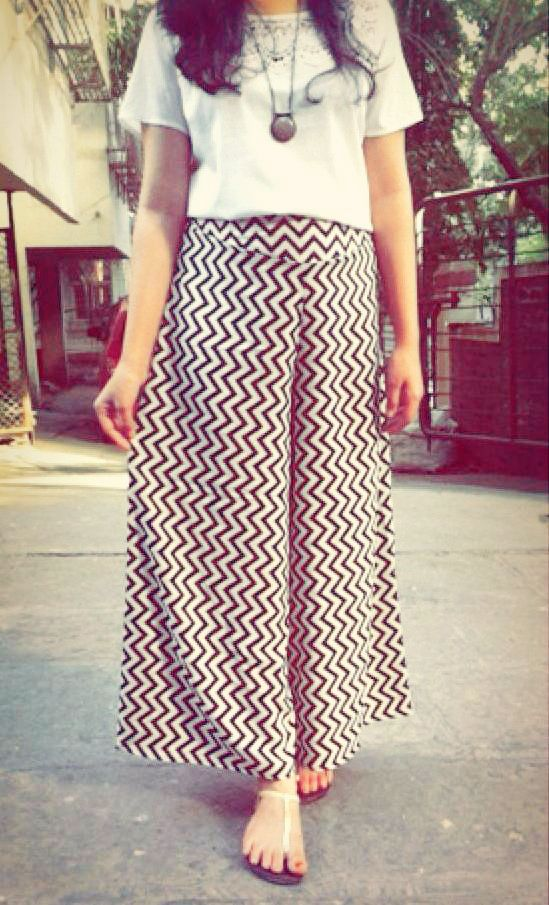 e9214b5f8ec Plain white tops and zig-zaggy palazzo pants ! Coz it s summers and these  are a perfect match !