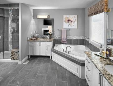 Gray Wood Tile Floor Bath Design Ideas Pictures Remodel And Decor Same Tile We Bought Wood Tile Bathroom Contemporary Master Bathroom Bathroom Tile Designs