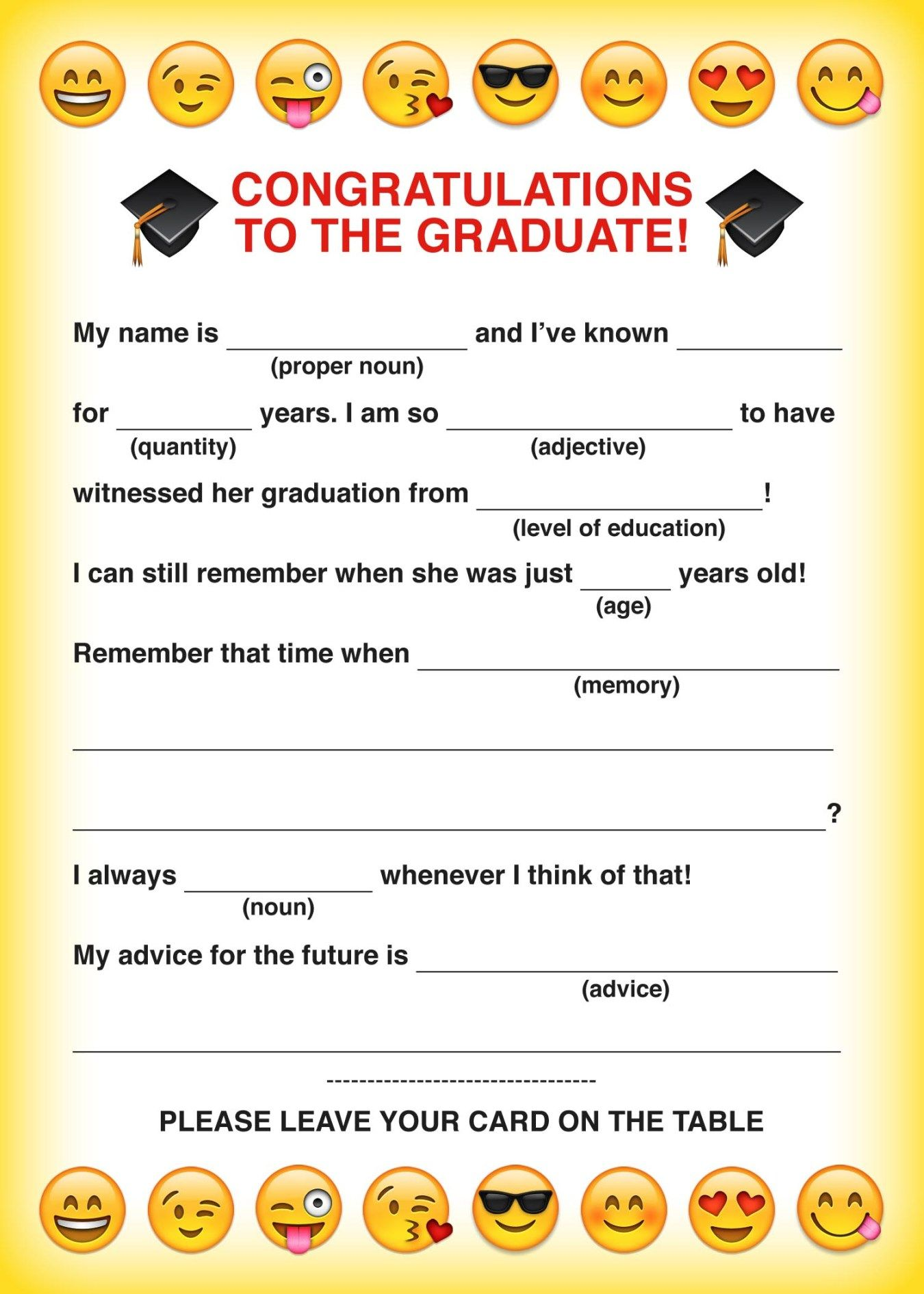 graphic about Free Printable Graduation Advice Cards named emoji totally free printable commencement insane libs card Jamie
