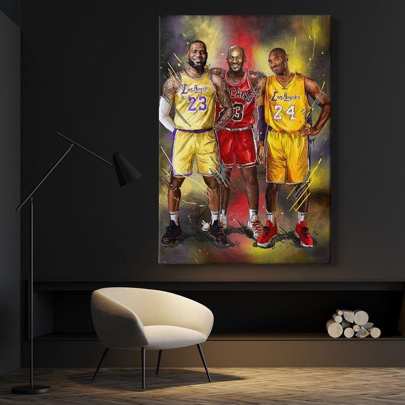 Michael Jordan Kobe Bryant Lebron James Basketball Player Etsy