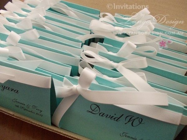 Tiffany blue wedding name cards by www.tangodesign.com.au #tiffany blue escort cards #tiffany blue name cards