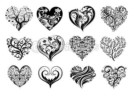 12 Tattoo hearts by Анастасия Залевская – Stockvectorbeeld. Would be pretty quilled  | followpics.co