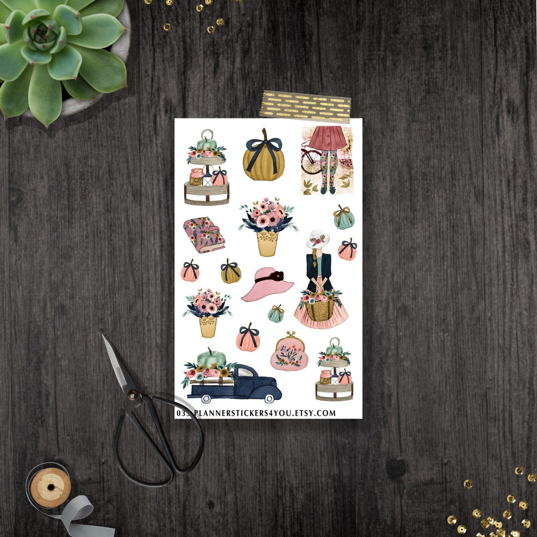 Hello Autumn - Cozy Vintage - Pumpkin and Flowers - Decorative Stickers - Boho Stickers - Bujo Sticker for your Bullet Journal 033 #helloautumn
