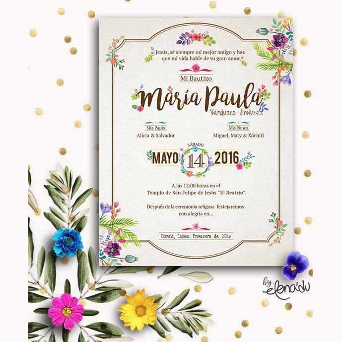 Bautizo invitación #mexican #flowers #bautizo