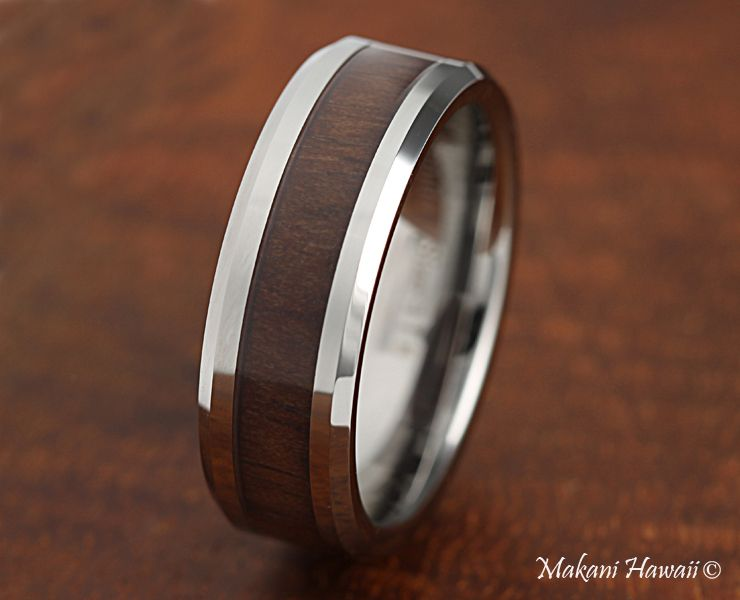 Tungsten Red Wood Inlaid Mens Wedding Band 8mm Dark Makani Hawaii
