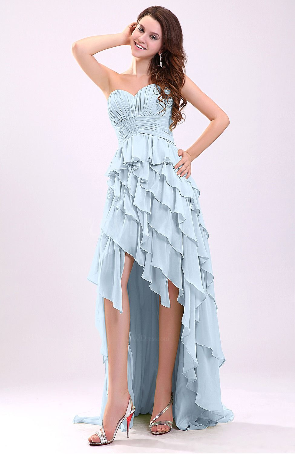 Ice blue ruffled chiffon hi low dress maid of honor outfit