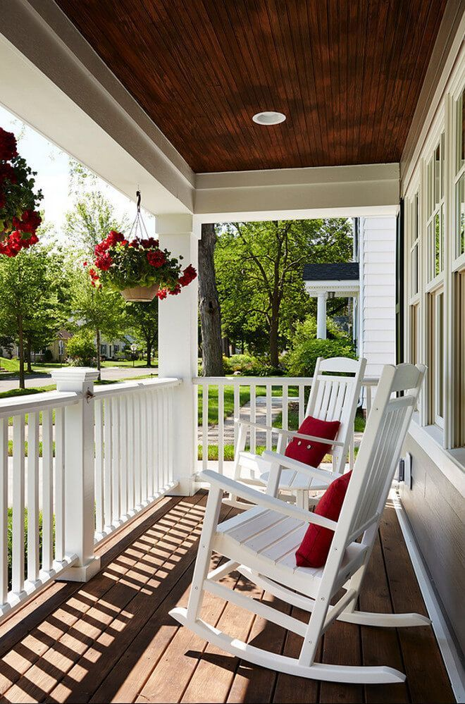 Front porch with pergola style roof. The right porch design can surely add lots of appeal and extra outdoor living space. Get more front porch roof ideas! #FrontPorchIdeas #PorchIdeas #PorchDecor