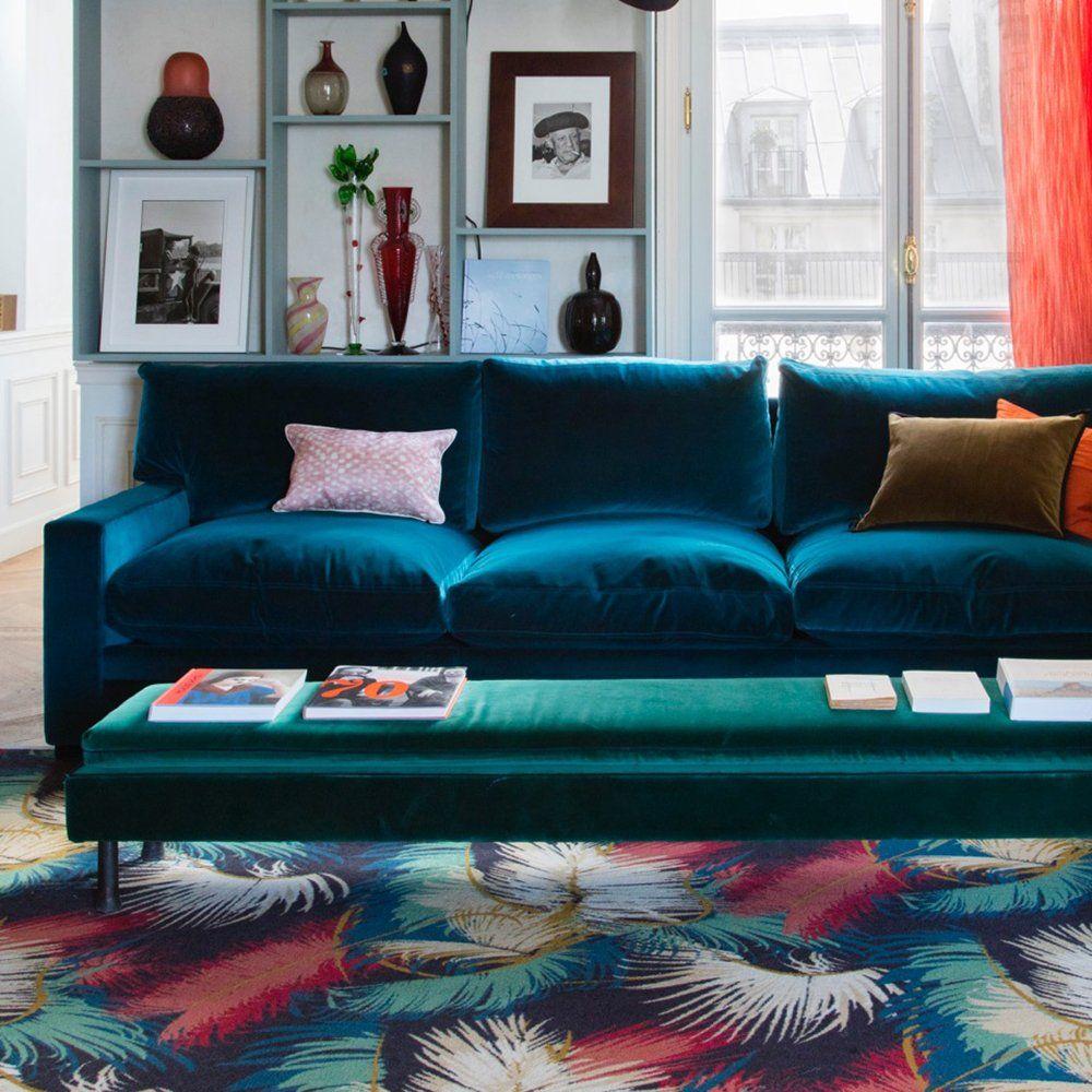 Un Sublime Canape Bleu Paon Canape Bleu Decoration Salon Bleu Canape Bleu Canard