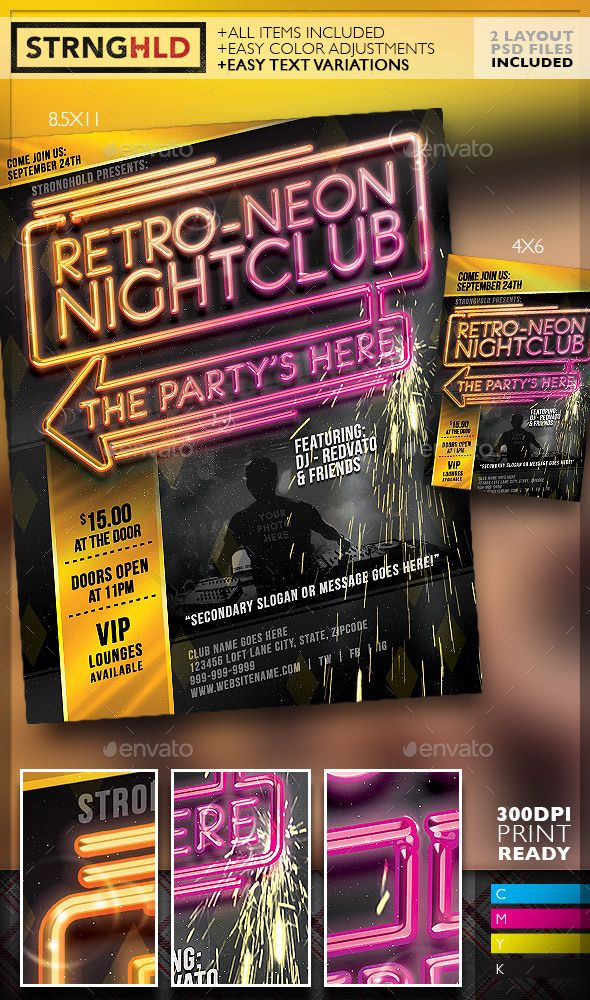 Retro Neon Party Flyer Template  Neon Party Party Flyer And