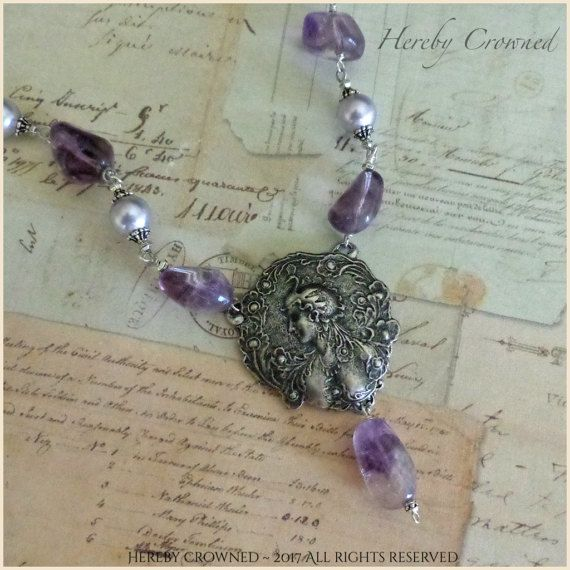 Kali Necklace Art Nouveau styled Contemporary statement Amethyst