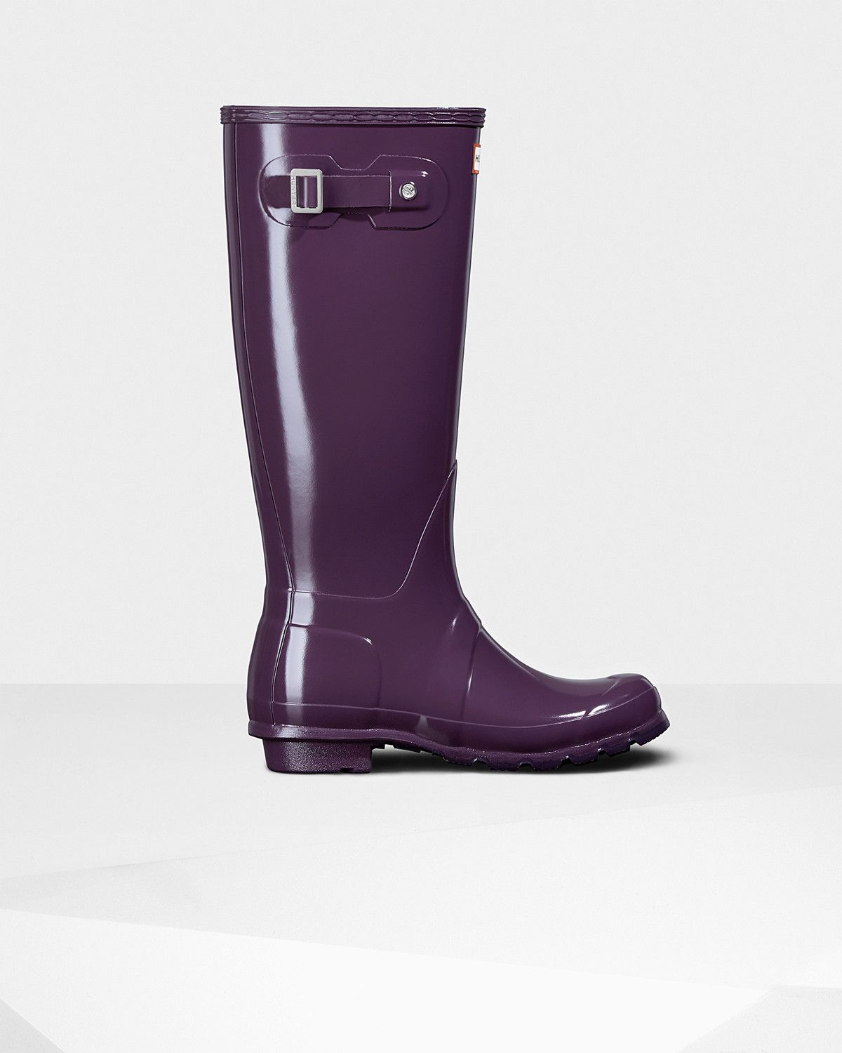 Womens Purple Tall Gloss Rain Boots | Official US Hunter Boots ...