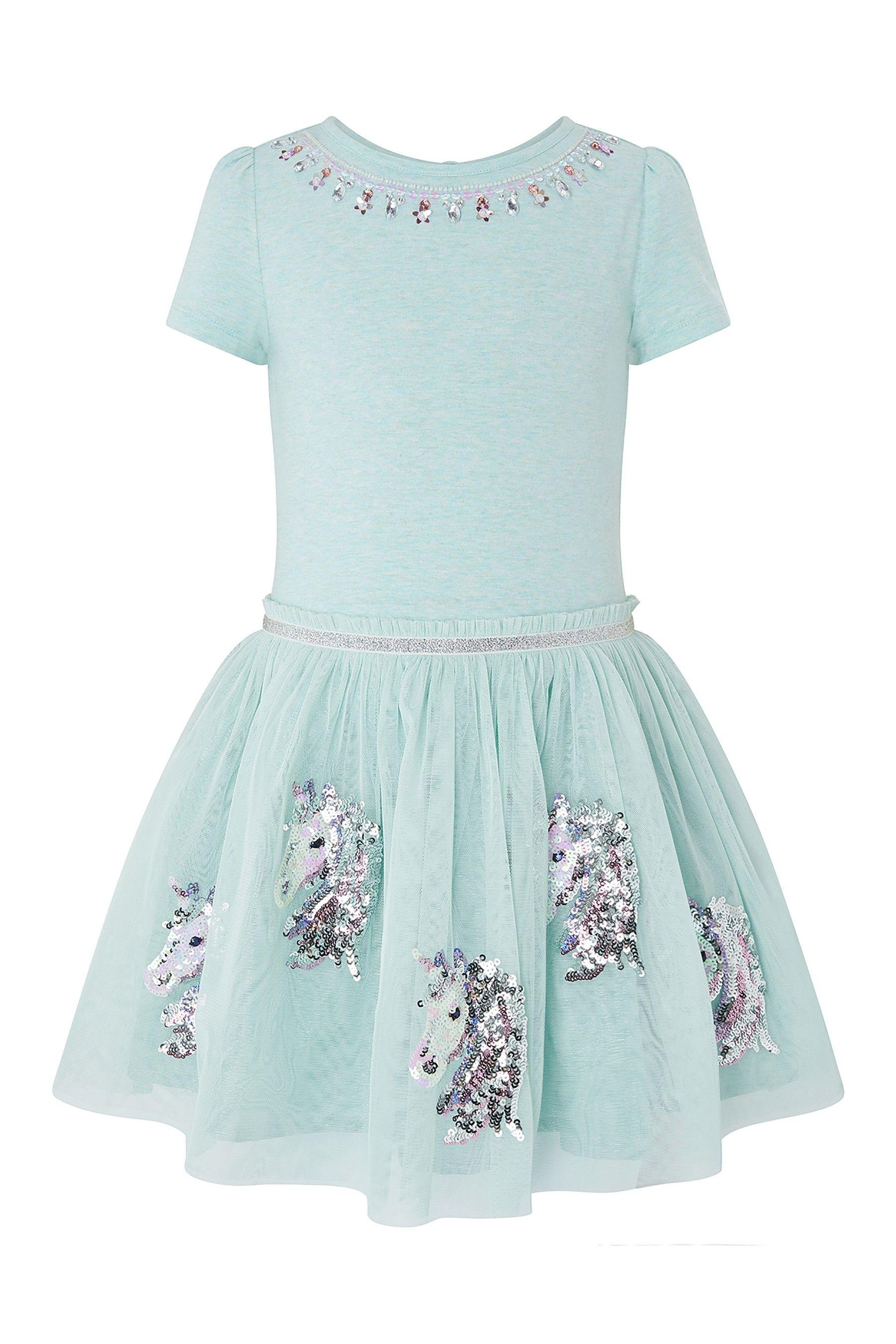 464664cdaffa Girls Monsoon Aqua Disco Una Unicorn Dress - Blue in 2019   Products ...