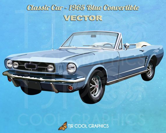 Classic Car 1965 Blue Convertible Digital, Vector, Realistic Clip Art, EPS, Printable, Vehicle, Engine