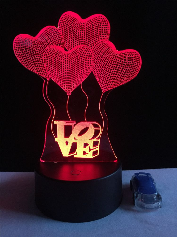 New 3d Visual Bulb Optical Illusion Colorful Led Table Lamp Wholesale Price Touch Romantic Holiday Night Light Creative Love Led Table Lamp Night Light Lamp