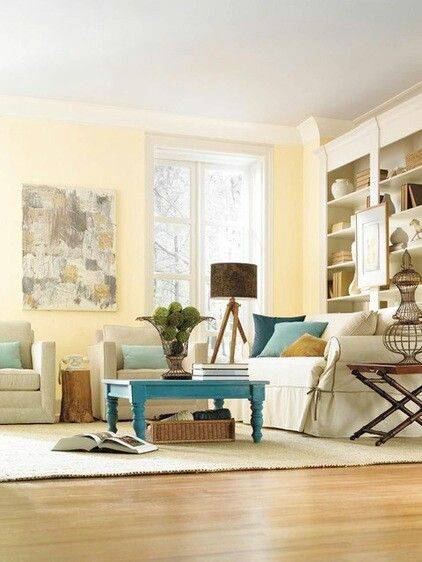 Soft Yellow Walls Linen Colors Seating With A Splash Of Blue