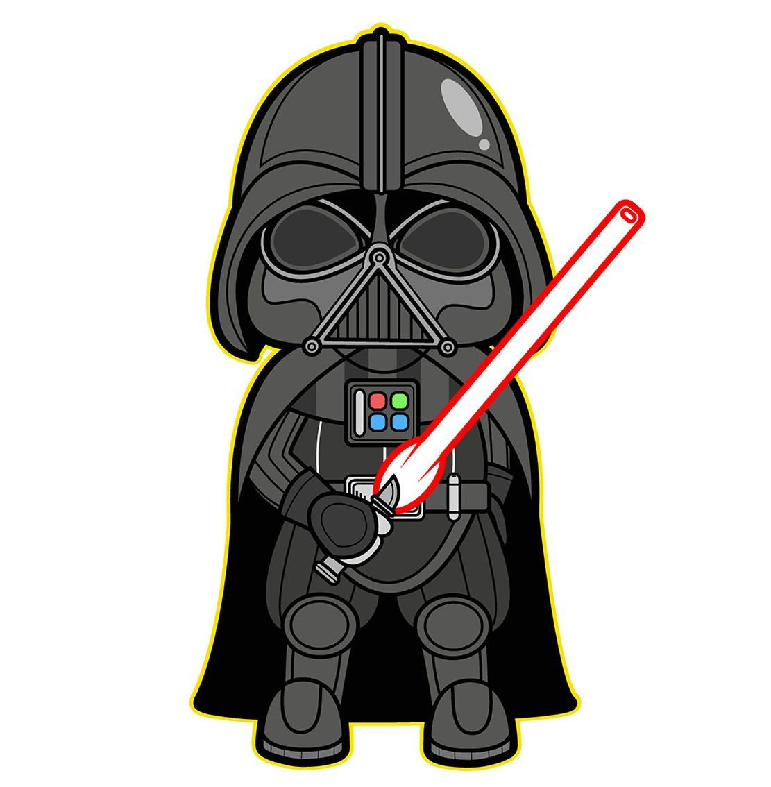 1023 Darth Vader Star Wars Height 9 Cm Decal Sticker