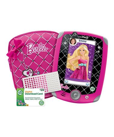 LeapPad Barbie Set by LeapFrog  - $49.99 and comes with the LeapPad 2, protective case, rhinestone stickers, AND a $20 download card, so it's like saving an extra $20! #zulily #zulilyfinds