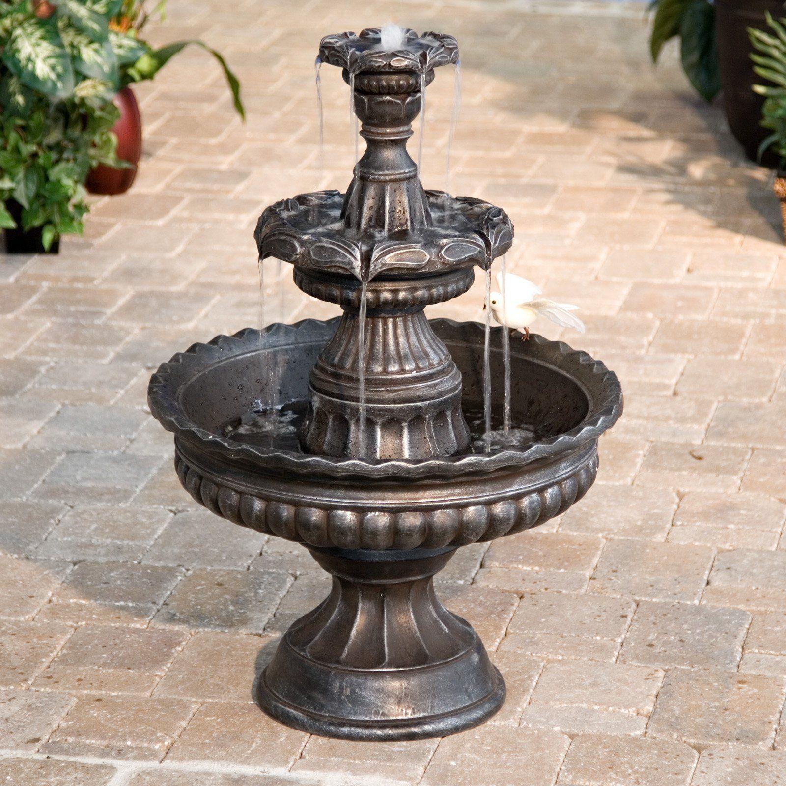 Tiered Garden Fountain 3 Tier Water Outdoor Decor Patio Pump Fountains Outdoor Fountains Backyard Outdoor Fountain