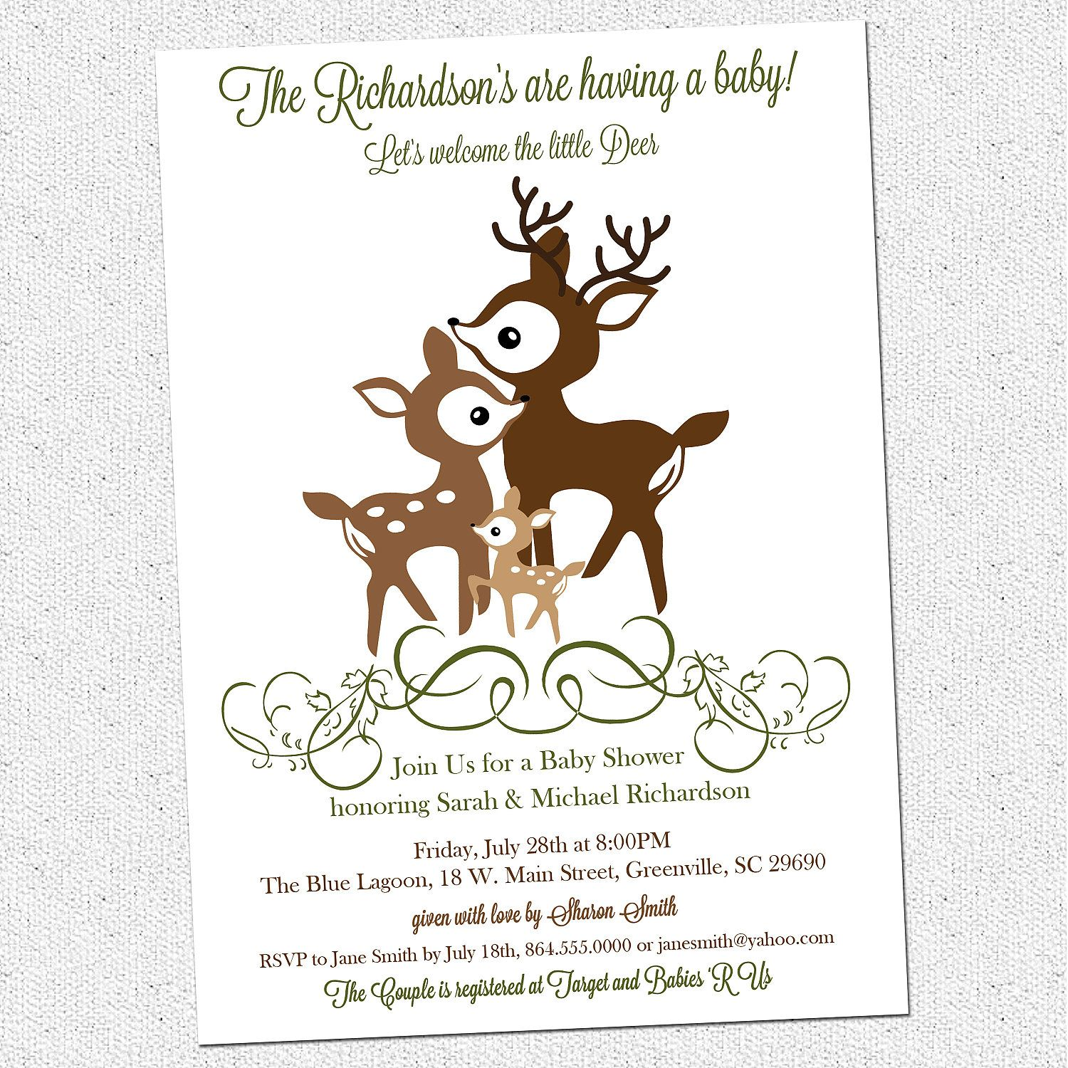 Printable Deer Family Baby Shower Invitation, Woodland, Elegant ...