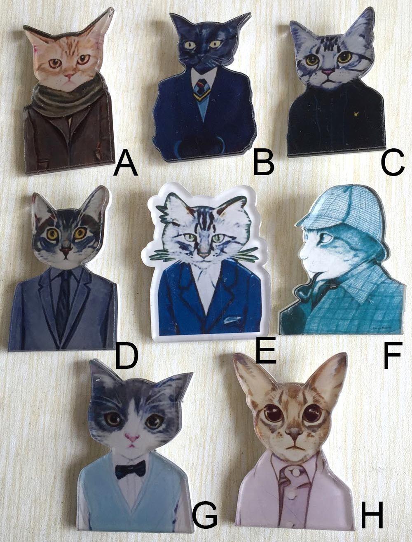cartoon cute CAT suit Human clothes BROOCH Acrylic Badge bag Jacket
