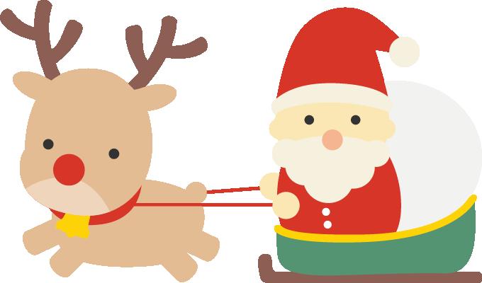 ソリに乗ったサンタのイラストトナカイ1頭 かわいい Christmas