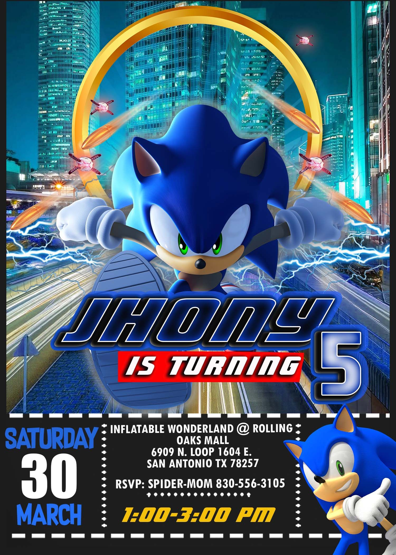Sonic The Hedgehog Birthday Party Invitation Amazing Designs Us Sonic Birthday Parties Sonic Party Sonic Birthday
