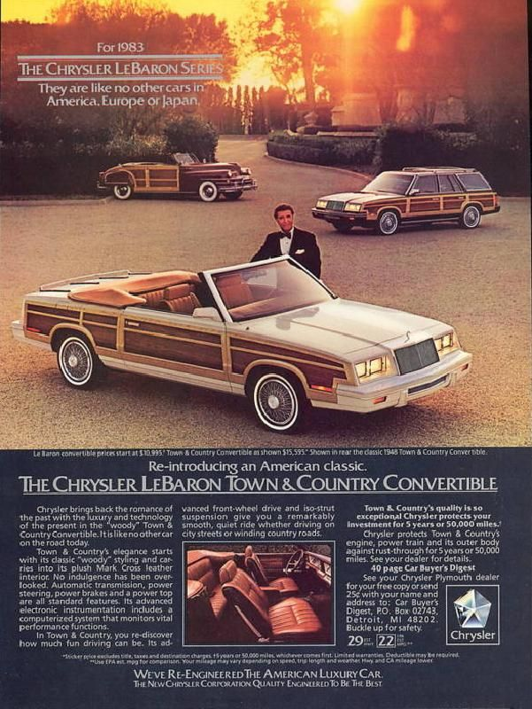 1983 Chrysler Lebaron Town Country Vintage Car Ads Chrysler