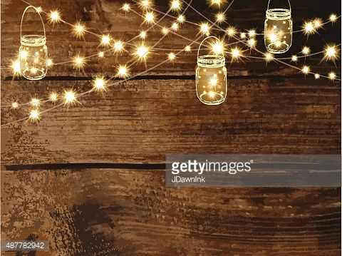 beautiful rustic wedding lights. vector art horizontal blank invitation design template with string lights and jars beautiful rustic wedding h
