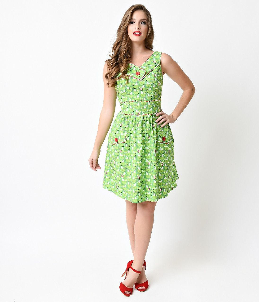 Retro Style Lime Green Foxy Lady Sleeveless Flare Dress