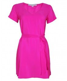 Amanada Uprichard - V Neck T-shirt Dress in Hot Pink