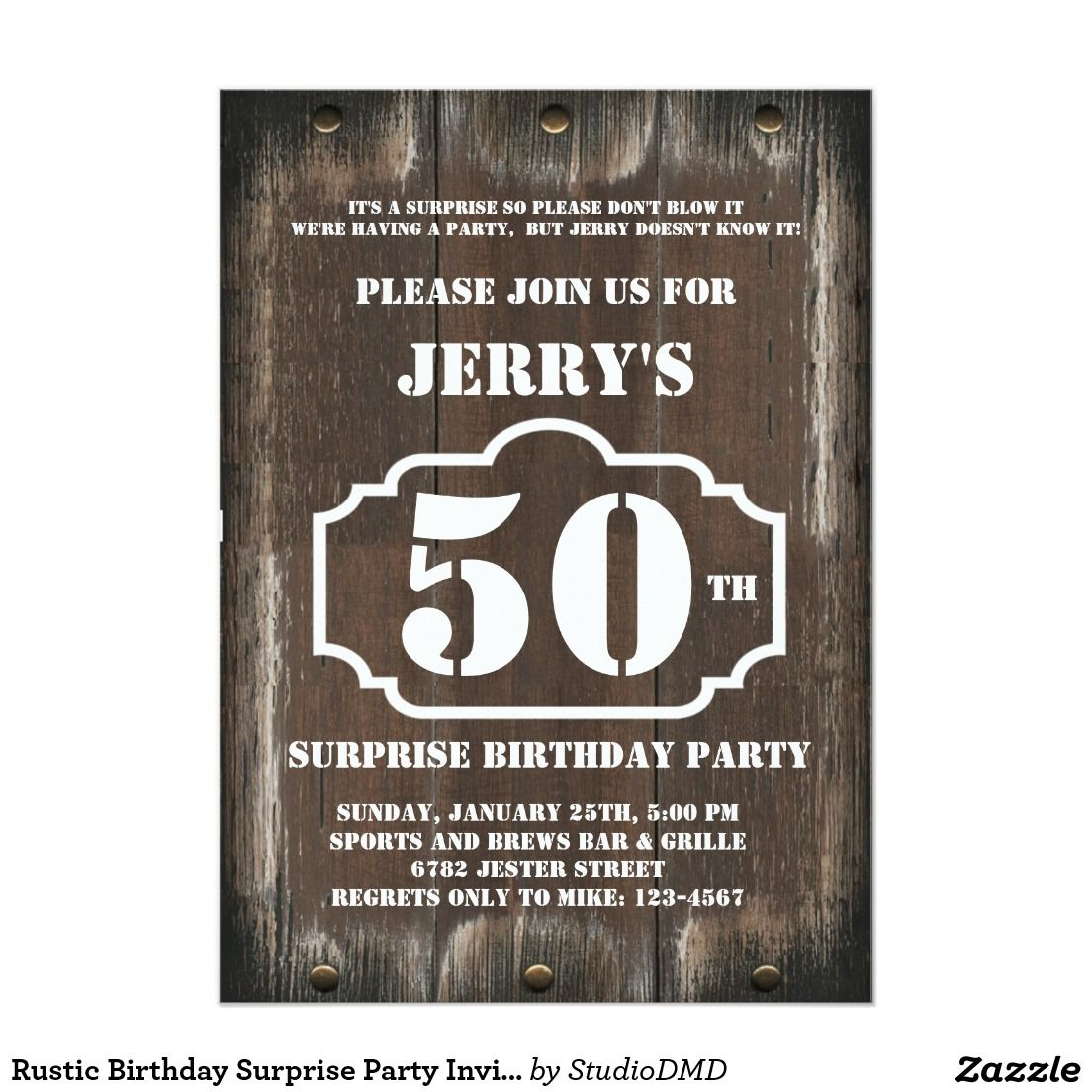 Rustic Birthday Surprise Party Invitation For Man Birthdays