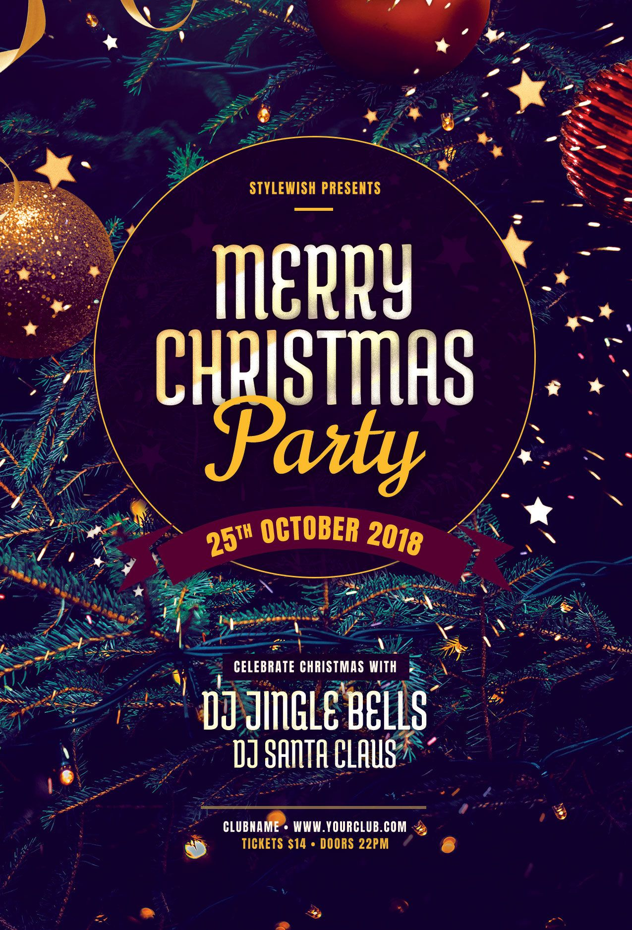 Merry Christmas Party Flyer by styleWish Download the PSD design