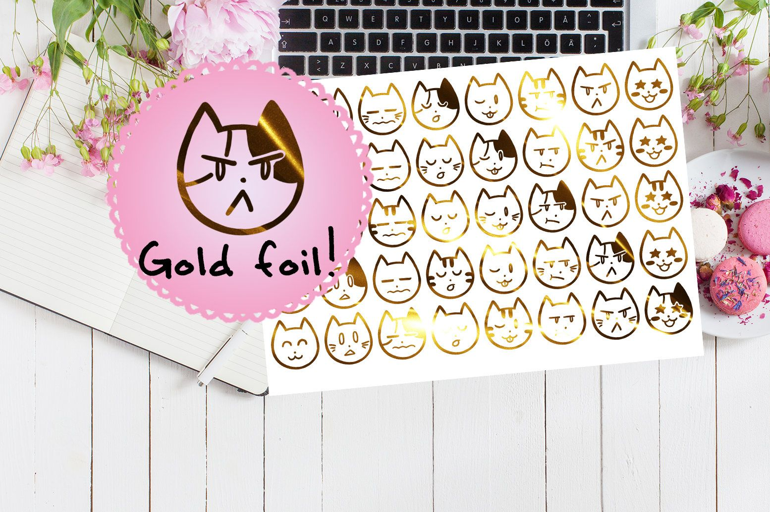 40 clear foil cat mood stickers gold foiled metallic stickers planner cute animal diary calendar tracker shiny gift kitten