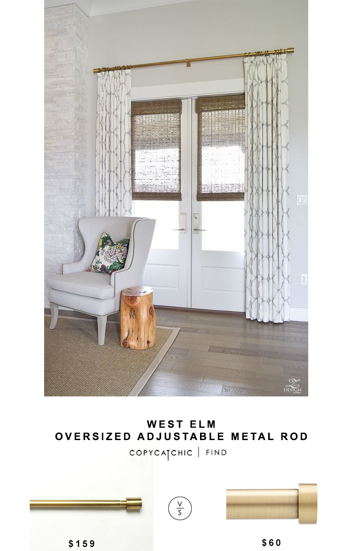 West Elm Oversized Adjustable Metal Rod Curtains Living Room