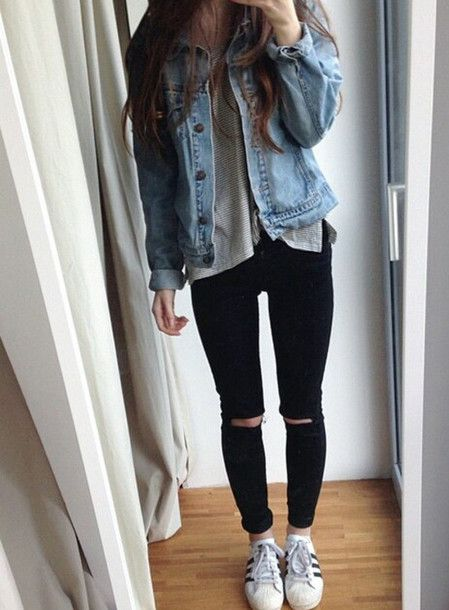 Clothes Winter and Fall black ripped jeans // white sneakers // jean  jacket and gray shirt