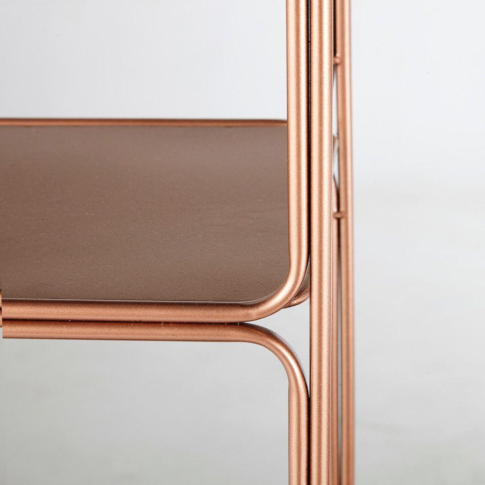 Madeline Copper Colour Metal Wall Mount Shelving Unit 80 X 59cm Regal Wandregal Holz Wandregal