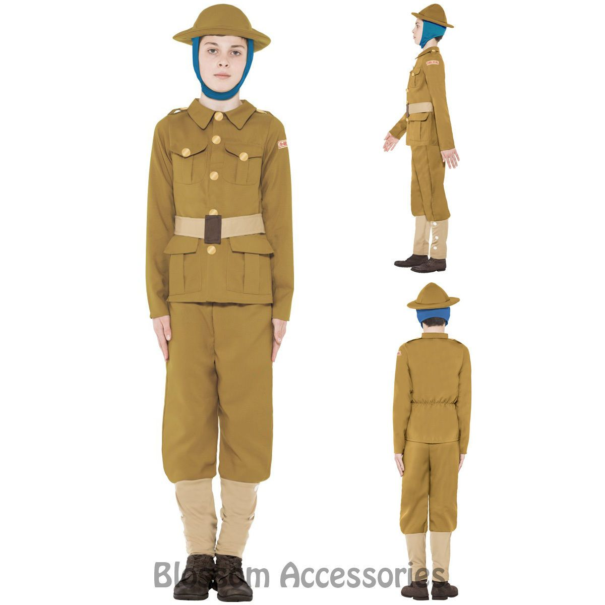 Boys Horrible Histories WW1 Soldier Fancy Dress Child Army Book Week Day Costume