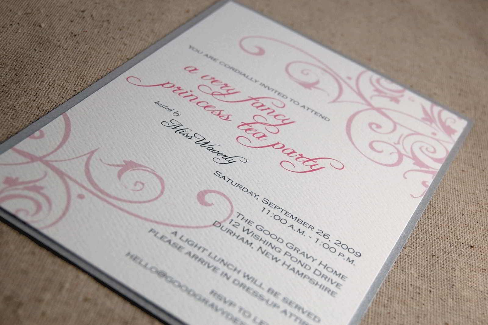 Formal Invitation To Kids Princess Party  Tea Party Invitations