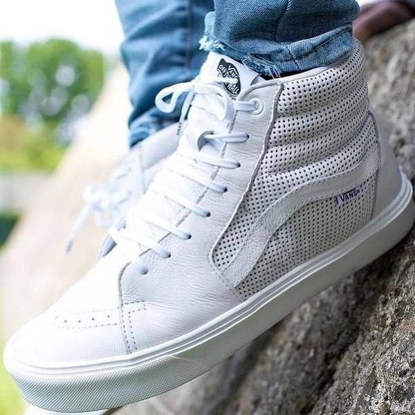 a62c1584d Vans Women Sk8-Hi Slim Zip Perforated Leather True White | Shoes ...
