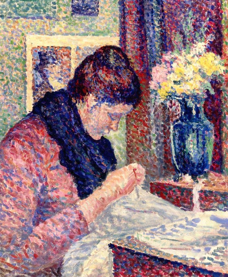 The Athenaeum - Woman Sewing (Maximilien Luce - )