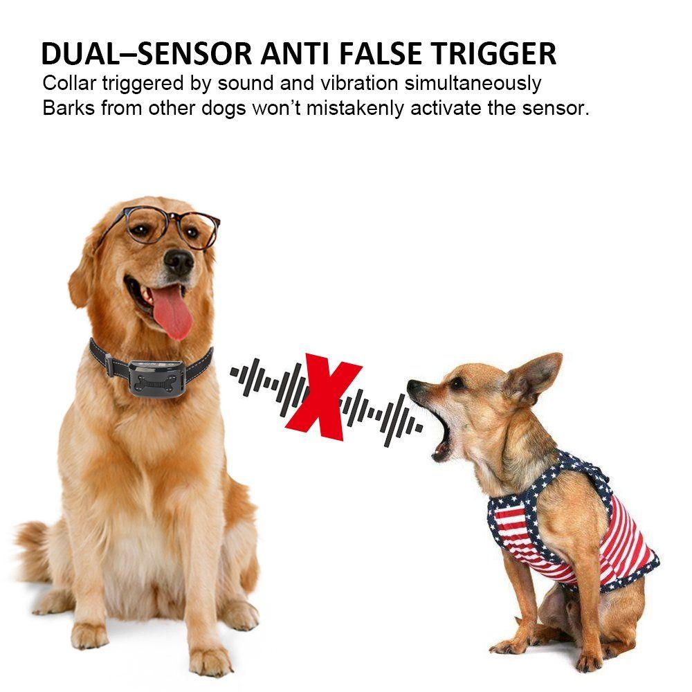 Rexway Automatic No Bark Dog Collar Safe Shock Vibration Selectable Anti Bark Training System Rechargea Electric Dog Collar Dog Shock Collar Wireless Dog Fence