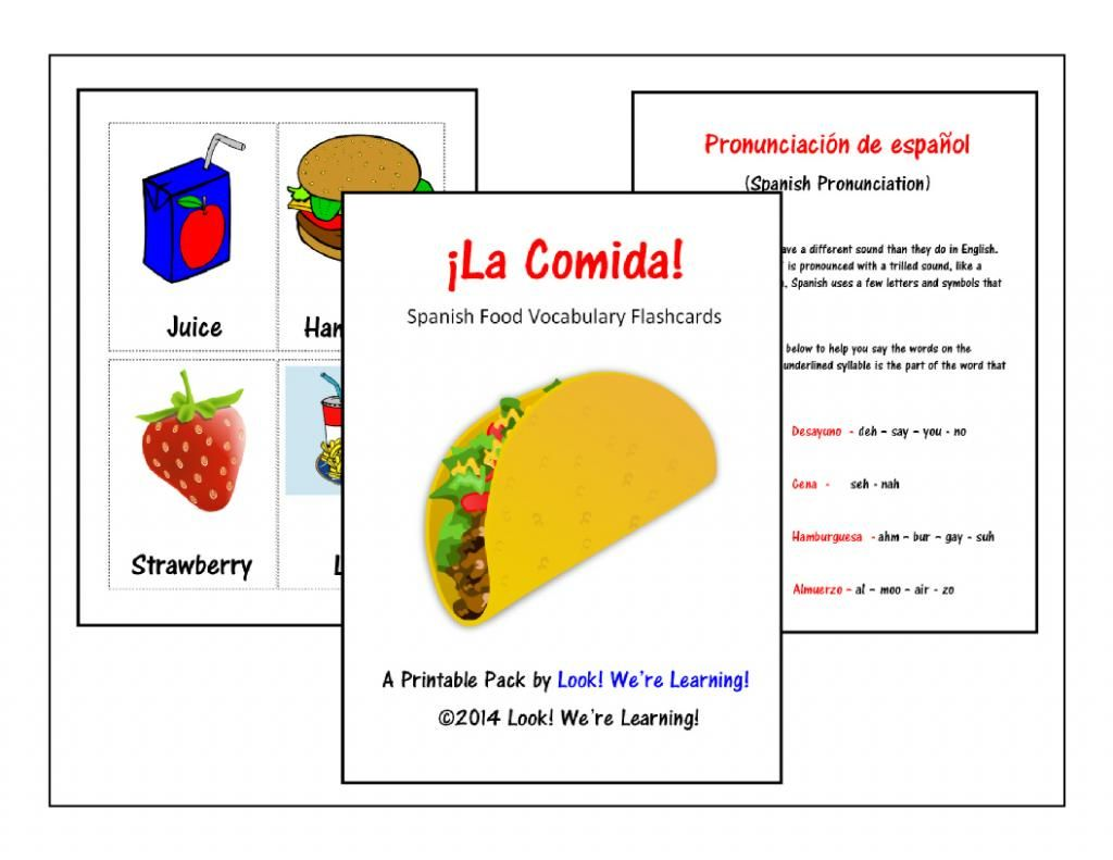 Free Printable Spanish Food Flashcards